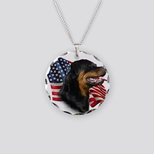 Rottweiler Flag Necklace Circle Charm