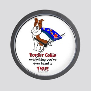 Super Border Collie-red Wall Clock