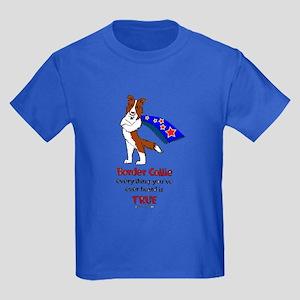 Super Border Collie-red Kids Dark T-Shirt