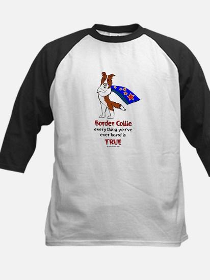 Super Border Collie-red Kids Baseball Jersey