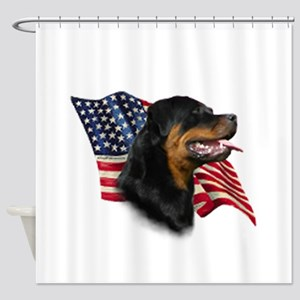 Rottweiler Flag Shower Curtain
