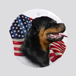Rottweiler Flag Round Ornament