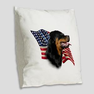 Rottweiler Flag Burlap Throw Pillow