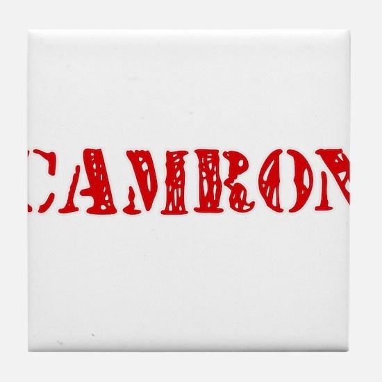 Camron Rustic Stencil Design Tile Coaster