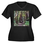 Redwood Trail Women's Plus Size V-Neck Dark T-Shir