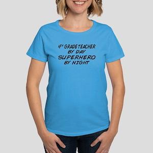 4th Grade Teacher Superhero Women's Dark T-Shirt