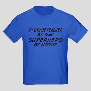4th Grade Teacher Superhero Kids Dark T-Shirt