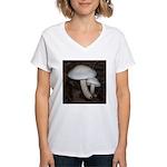 White Mushrooms Women's V-Neck T-Shirt