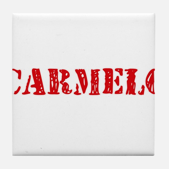 Carmelo Rustic Stencil Design Tile Coaster