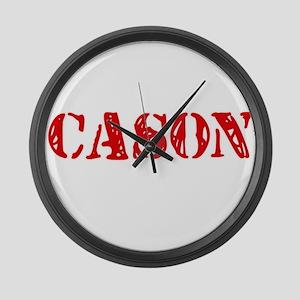 Cason Rustic Stencil Design Large Wall Clock