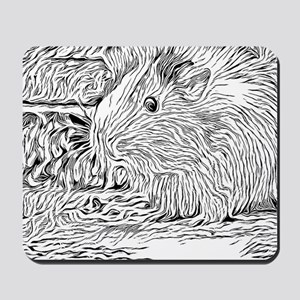 Inky Black and White -Guinea Pig Mousepad