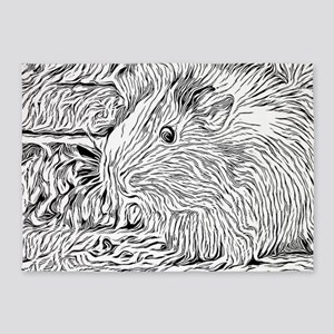 Inky Black and White -Guinea Pig 5'x7'Area Rug