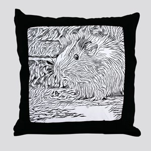 Inky Black and White -Guinea Pig Throw Pillow