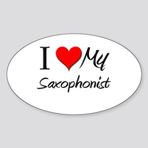 I Heart My Saxophonist Oval Sticker
