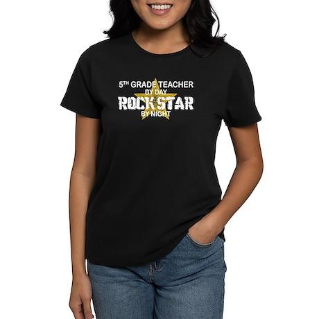 5th Grade Teacher Rock Star Women's Dark T-Shirt