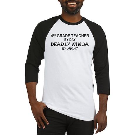 4th Grade Teacher Deadly Ninja Baseball Jersey