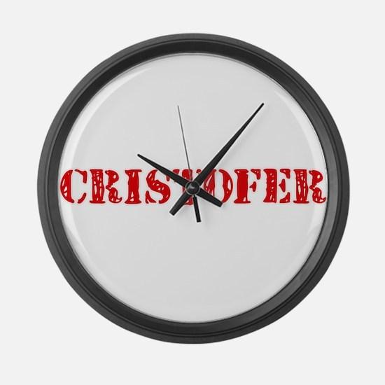 Cristofer Rustic Stencil Design Large Wall Clock