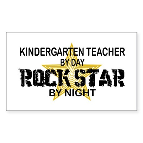 Kndrgrtn Teacher Rock Star Rectangle Sticker
