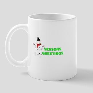 seasons greatings snow man Mug