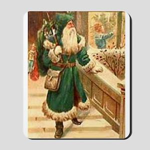 vintage santa green Mousepad
