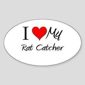 I Heart My Rat Catcher Oval Sticker
