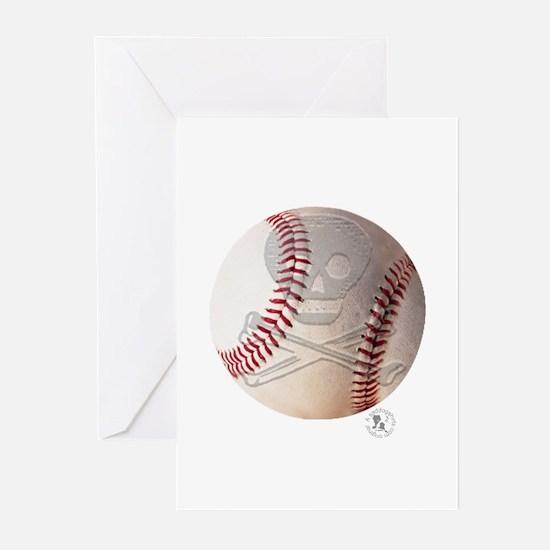 Skull & Crossbones Baseball Greeting Cards (Pk of