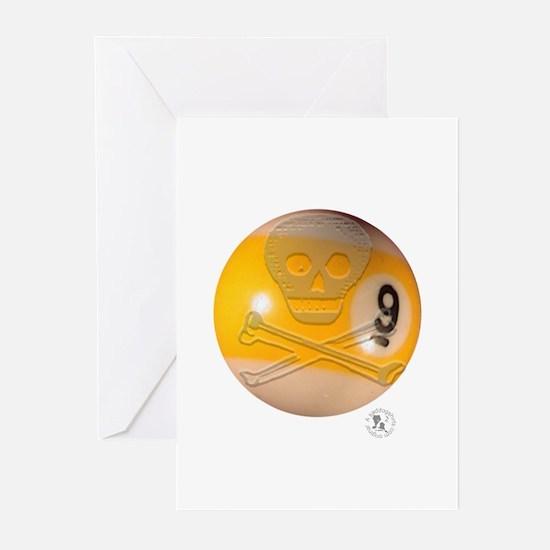 Skull & Crossbones 9-ball Greeting Cards (Pk of 10