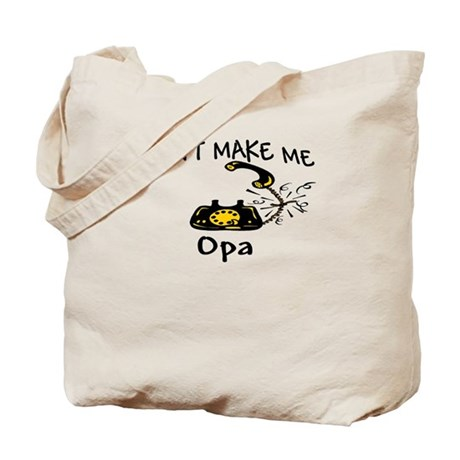 Call Opa with Black Phone Tote Bag