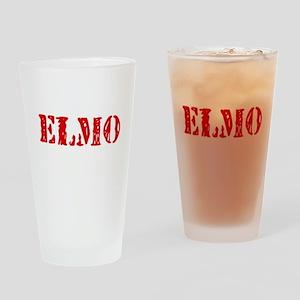 Elmo Rustic Stencil Design Drinking Glass