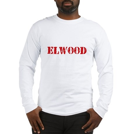 Elwood Rustic Stencil Design Long Sleeve T-Shirt