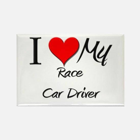 I Heart My Race Car Driver Rectangle Magnet