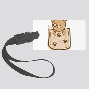 Dog_in_the_Pocket Large Luggage Tag