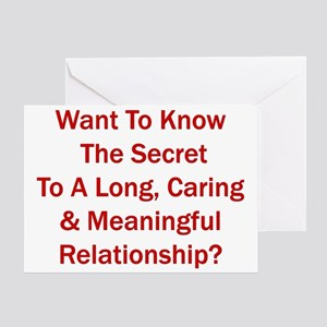 """""""Secret To A Long Relationship"""" Greeting"""