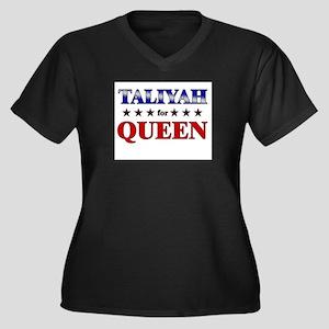 TALIYAH for queen Women's Plus Size V-Neck Dark T-