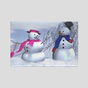 snow couple Rectangle Magnet
