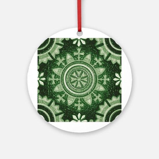 Green Abstract 3 Keepsake (Round)