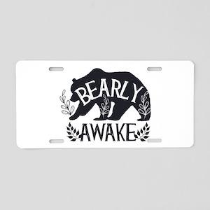 Bearly Awake Aluminum License Plate
