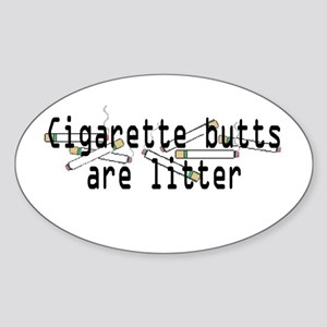 Butts are Litter Oval Sticker