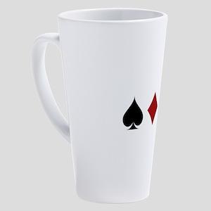 Four Card Suits Symbol 17 oz Latte Mug