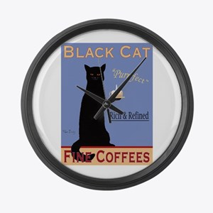 Black Cat Fine Coffees Large Wall Clock
