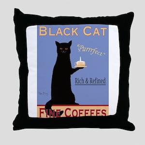 Black Cat Fine Coffees Throw Pillow