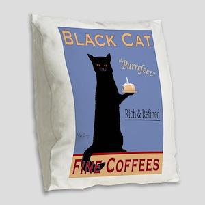Black Cat Fine Coffees Burlap Throw Pillow