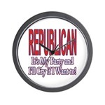It's My Party Republican Wall Clock