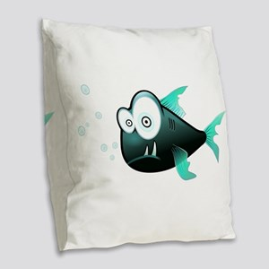 Funny Cute Piranha Fish Burlap Throw Pillow
