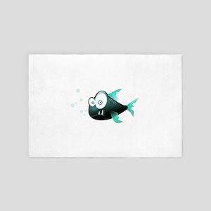 Funny Cute Piranha Fish 4' x 6' Rug