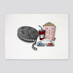 3D Cinema Movie Popcorn 5'x7'Area Rug