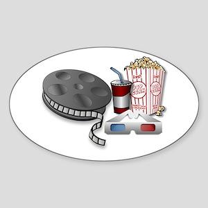 3D Cinema Movie Popcorn Sticker