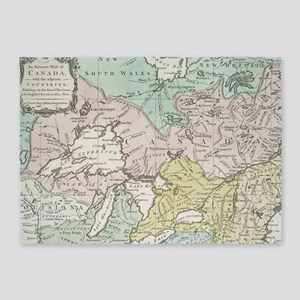 Vintage Map of Great Lakes & Canada 5'x7'Area Rug