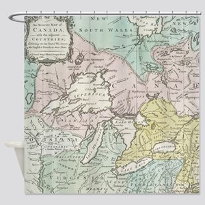 Vintage Map of Great Lakes & Canada Shower Curtain