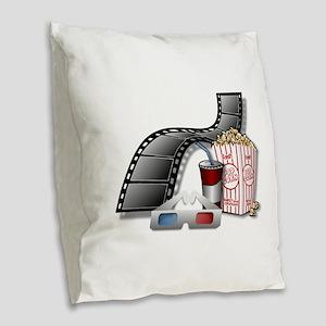 Cool 3D Movie Cinema Burlap Throw Pillow
